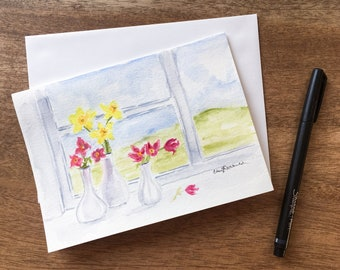 Flower vases on a sunny window sill hand-painted in watercolor on this 5x7 card will brighten your day