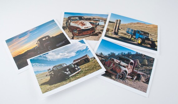 "5""x7"" photo greeting cards series of Old Trucks of the Desert"