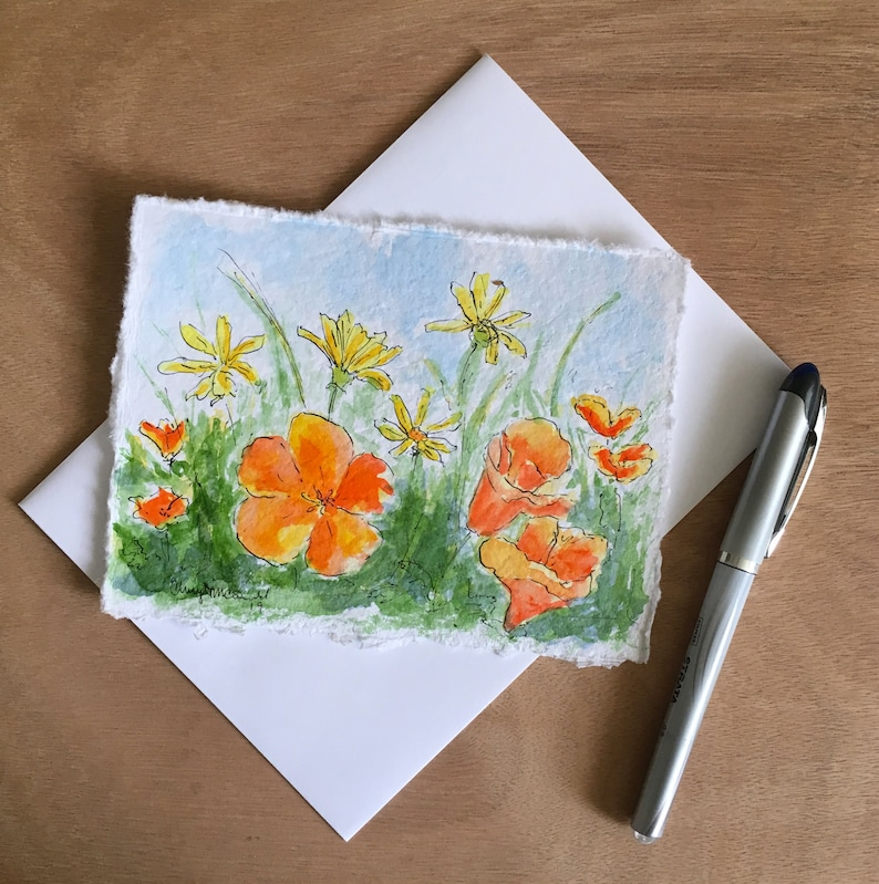 Wild flowers in the field is a hand-painted watercolor card image 0