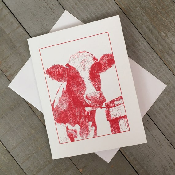 """Moo-ilyn Moo-nroe en Rouge is now on a 4.25""""x5.5"""" blank notecard created from my mixed media illustration. You can use it just to say hi!"""