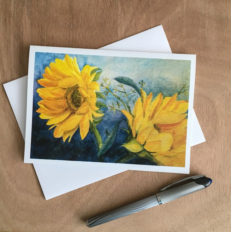 My Watercolor Painting of  Dancing Sunflowers in Bright Yellow image 0