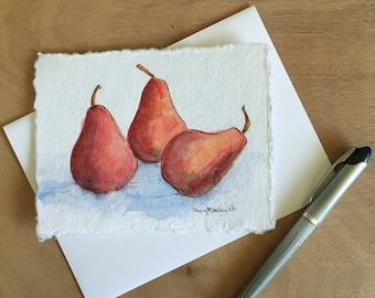 """Ripe Red Pears is a hand-painted watercolor card approx. 4.5""""x6"""". Frameable Kitchen Art that makes a great gift for birthdays"""