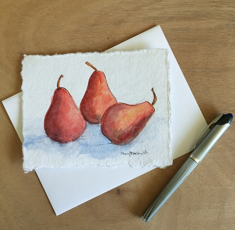 Ripe Red Pears is a hand-painted watercolor card approx. image 0