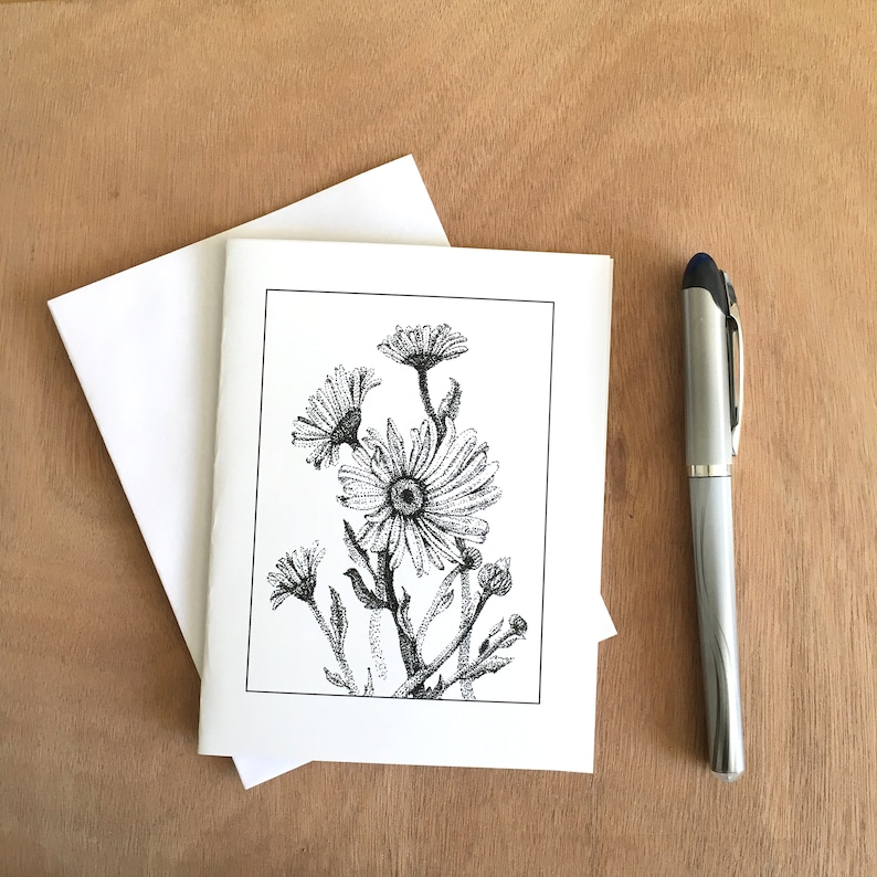 Pen & Ink Bunch of Daisies is a blank notecard.  Perfect for image 0