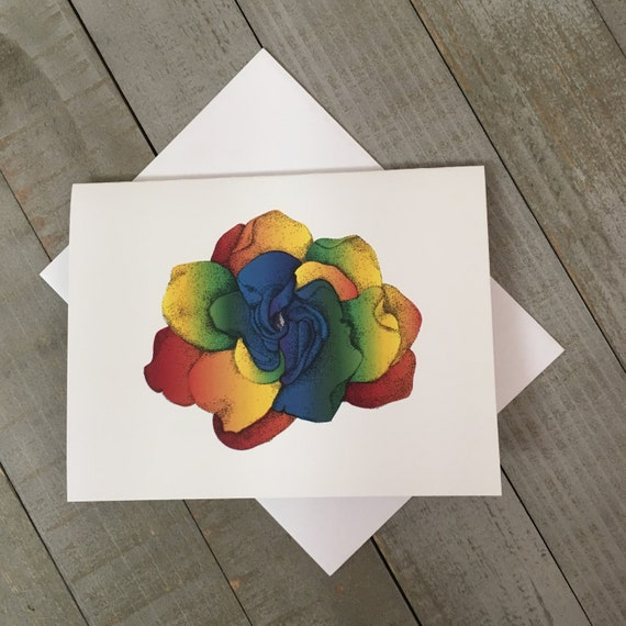 "Rainbow Gardenia is now a 4.25""x5.5"" blank notecard created from my mixed media illustration. Use as a thank you, or brighten someones day."