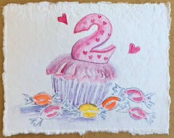 """Happy Birthday 2 Year Old! Customized birthday cards Created to fit a theme or age. This is a hand-painted watercolor card approx. 4.5""""x6""""."""