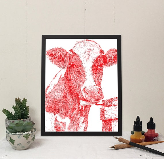 Moo-ilyn Moo-nroe in Rouge is a stylish cow that will brighten your wall and bring some fun to your home.