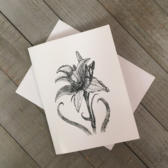 """Sunlit Day Lily 4.25""""x5.5"""" blank notecard printed from my pen & ink illustration. Use as a thank you note, or just to say hello!"""