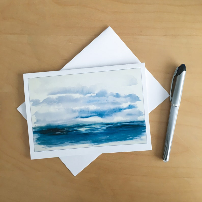 Blue Sea is a  5x 7 printed card from an intuitive image 0