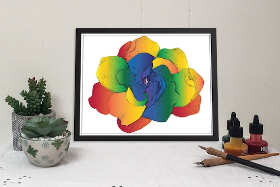 Rainbow Gardenia Matted Prints. Now in 2 sizes! 11x14 and 16x20