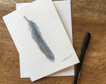 Blue Scrub Jay Bird Feather drawn in layers of colored pencil on 140lb watercolor cardstock make a unique way to celebrate Autumn.
