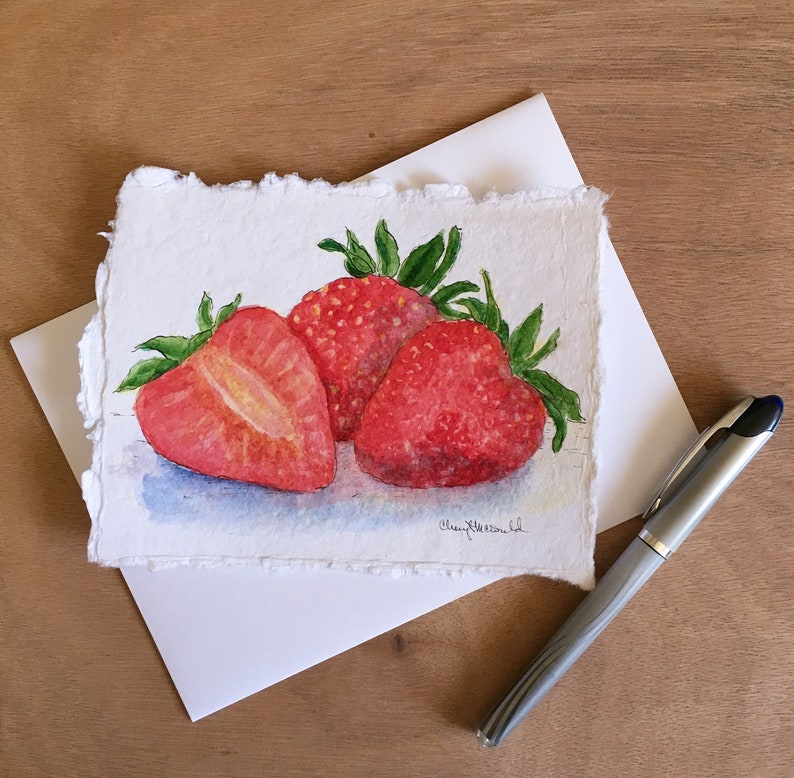 Ripe Sweet Strawberries is a hand-painted watercolor card image 0