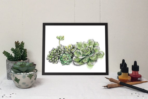 11x14 Matted Print of a Succulent Garden in pen & ink and watercolor strokes.