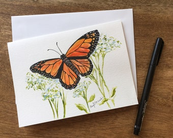 """A Monarch Butterfly settles on a group of Yarrow in this  Hand-painted watercolor card  5""""x7"""". Not just a card but a framable gift!"""