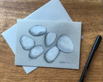 Gray and White Stones 2 drawn in layers of colored pencil on 80lb gray toned cardstock make a unique way to celebrate Autumn.