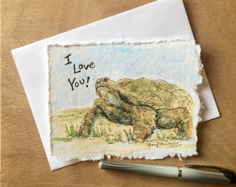 """Are You a Desert Tortoise Fan? Say I love you with this custom watercolor card, approx. 4.5""""x6"""". Spread love with mailable art!"""
