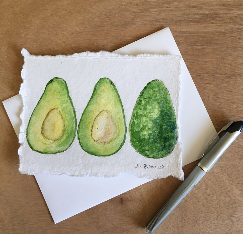 Hand-painted notecard on art paper Avocado inside and out image 0