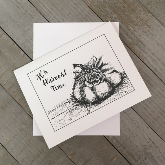 """It's Harvest Time is a 4.25""""x5.5"""" blank notecard created from my mixed media illustration. Use as a thank you note  or Thanksgiving Greeting"""