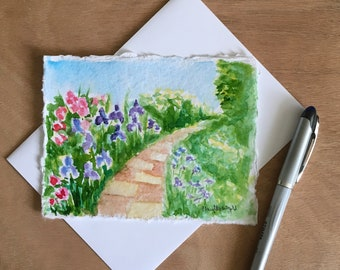 """Hand-painted  card approx. 4.5""""x6"""".A perfect gift for garden lovers, mailable art, art card, watercolor greeting card."""