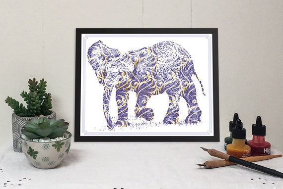 Dancing Elephant with Blue and Gold swirls mixed media 11x14 print