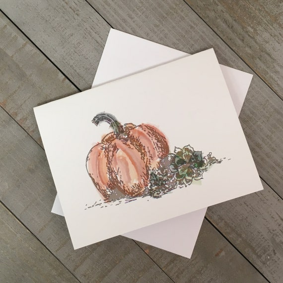 """Fall Harvest 4.25""""x5.5"""" blank notecard created from my mixed media illustration. Use as a Thanksgiving greeting or thank you note."""
