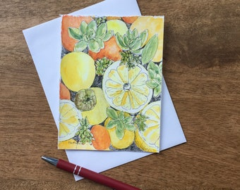 A Citrus Medley hand-painted card with watercolor and black pen. A beautiful harvest greeting card. Fresh and natural in bright fall colors