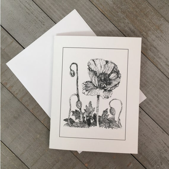 """Iceland Poppy is now in a 4.25""""x5.5"""" blank notecard created from my pen & ink  illustration. Use as a greeting to say thank you or hello!"""