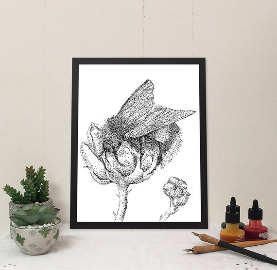 11x14 matted print of a bumblebee in a blackberry blossom stippled pen & ink drawing