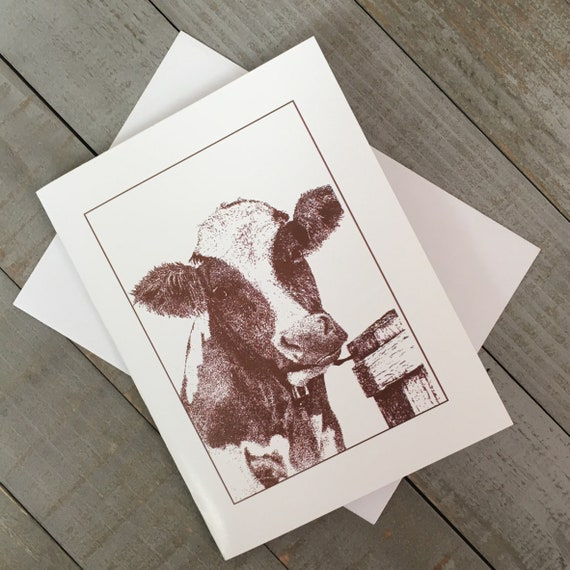 """Moo-ilyn Moo-nroe en Marron is now a 4.25""""x5.5"""" printed blank note card!  Use as a greeting card, thank you note, or just to say hello!"""