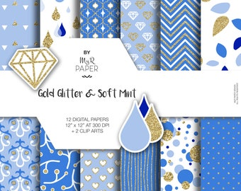 Light Blue digital paper + 2 ClipArt