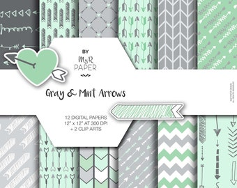"""2 Clipart + Arrow digital paper: """"Gray & Mint Arrows"""" backgrounds in Light Green and Gray with arrows, chevron, zig zag - Instant Download"""