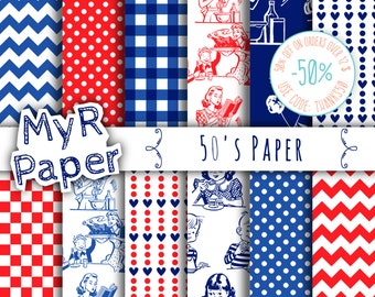 "Digital Paper: ""50's Paper"" Paper Pack & Backgrounds with Polka Dots, Chevron, Hearts, Gingham in White, Red and Blue"