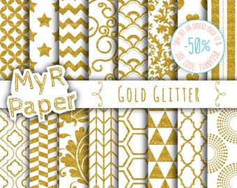 "SALE 50% Gold glitter digital paper: ""Gold Glitter Patterns"" Backgrounds with  Doodle, Chevron, Polkadots, Honeycomb, Stripes, Stars, Hearts"