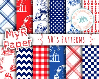 "Digital Paper: ""50's Patterns"" Paper Pack & Backgrounds with Polka Dots, Chevron, Hearts, Gingham in White, Red and Blue"