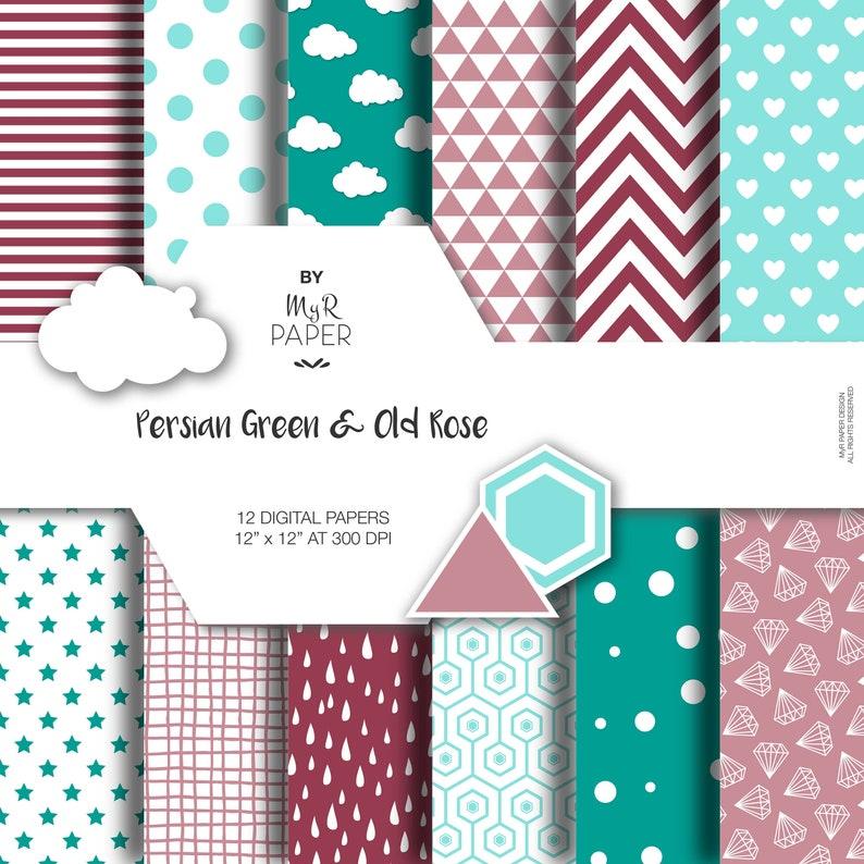 Digital Paper Pack: Persian Green & Old Rose dots image 0