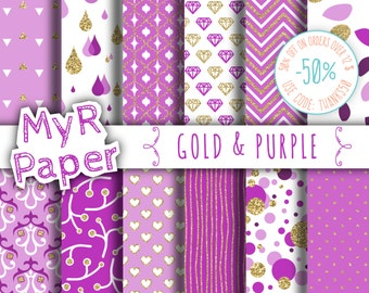 """Gold glitter purple digital paper: """"GOLD & PURPLE"""" purple and gold glitter pack of backgrounds with chevron, polka dots, stripes, hearts"""