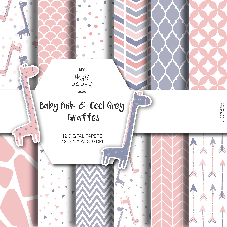 Giraffe Digital Paper: Baby Pink & Cool Gray | Etsy - photo#26