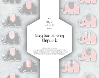 """Elephant Clipart: """"Baby Pink & Grey Elephants"""" on transparent background, instant download, zoo, jungle, safari, perfect for baby shower"""