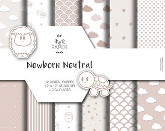 """New Baby Digital Paper +2 Clipart: """"Newborn Neutral """" backgrounds with sheep, turtles, dots, striped, clouds, hearts, scallop, Baby Shower"""