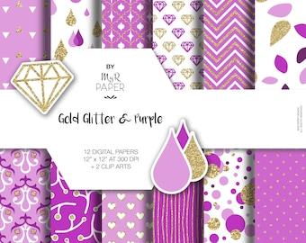 "Gold glitter purple digital paper + 2 ClipArt: ""GOLD & PURPLE"" purple and gold glitter pack of backgrounds with chevron, dots, stripe, heart"