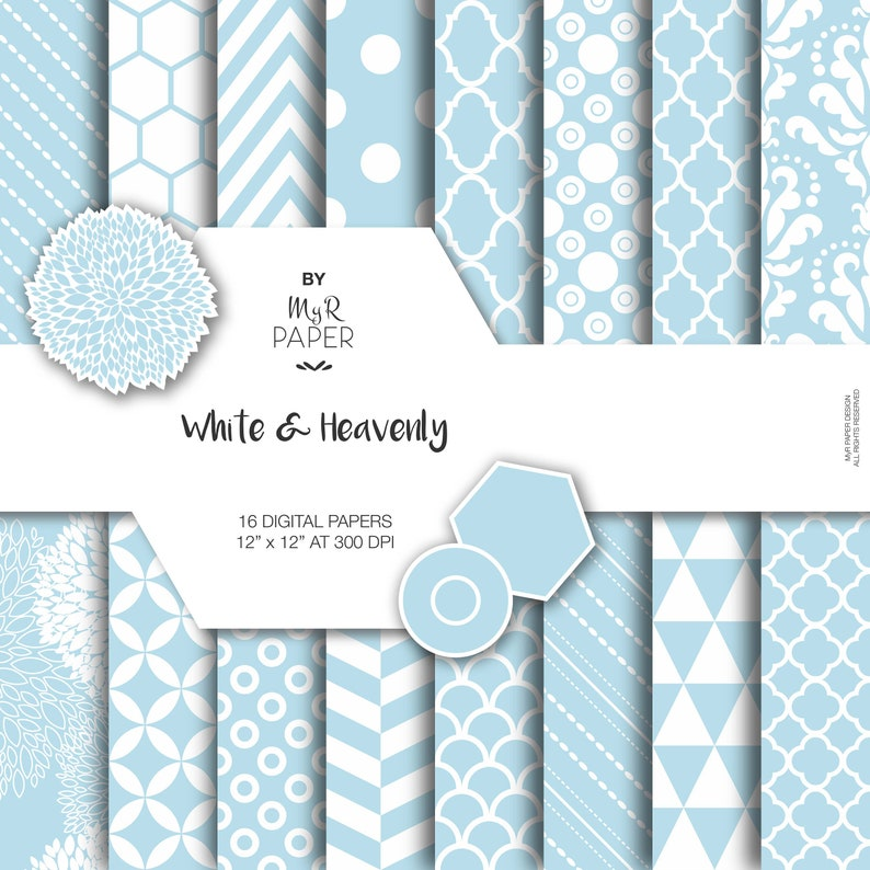 f0a8082bebe SALE 50% Light Blue Digital Paper  White