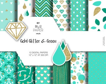 "Gold glitter green digital paper: ""GOLD & GREEN"" green and gold glitter pack of backgrounds with chevron, polka dots, stripes, hearts"