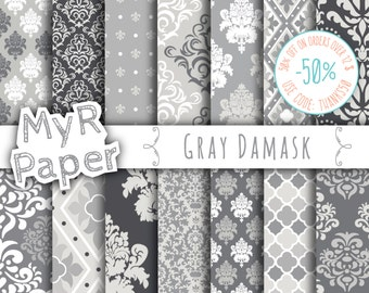 """damask digital paper: """"GRAY DAMASK"""" digital paper pack with grey (gray) damask backgrounds and patterns for scrapbooking"""