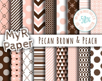 "Digital paper: ""Pecan Brown & Peach"" pack for scrapbooking, invite, card – perfect for mother's day, valentine's day, wedding, love"