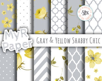 "Shabby Chic Digital Paper: ""Gray & Yellow Shabby Chic"" romantic scrapbook background - Instant Download – perfect for wedding invites, cards"