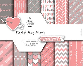 """Digital Paper +2 ClipArt: """"Coral & Grey Arrows"""" Pack of Backgrounds with Arrows, Chevron, Hearts in Light Pink, Coral, Grey and Fresh White"""