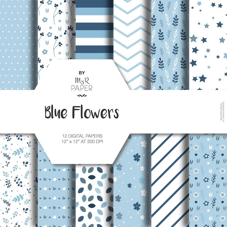 Blue Digital Paper: Blue Flowers pack of image 0