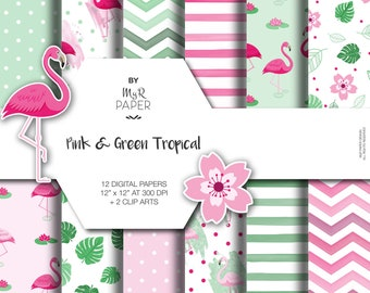 """Flamingo Digital Paper + 2 Clipart: """"Pink & Green Tropical"""" backgrounds w/ monstera leaf, flamingo, lotuse and water lilie. Scrapbooking"""