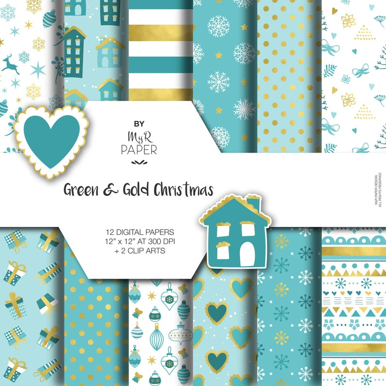 2 Clipart  Christmas Digital Paper: Green & Gold image 0
