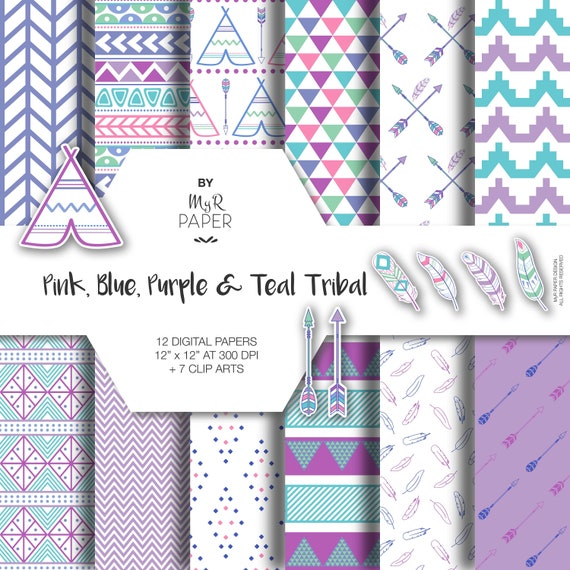 chevron clipart Instant Download. Tribal patterns for Commercial Use Scrapbook Backgrounds arrow Pink and Purple Arrows Digital Paper